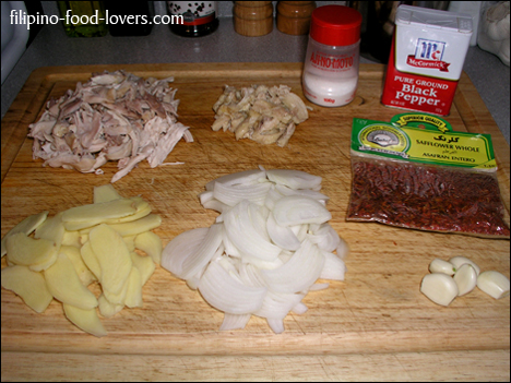 Ingredients: Luya, sibuyas, safflower, garlic, shredded chicken breast