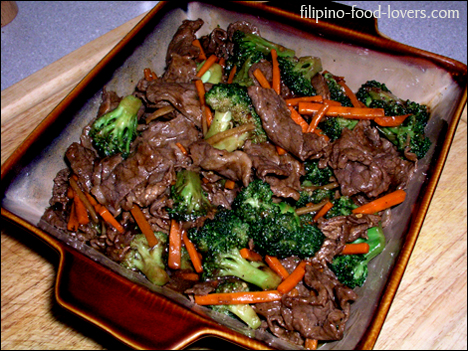 Beef & Broccoli in a Serving Bowl