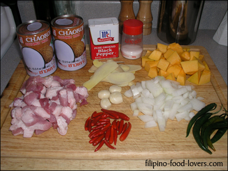 Bicol Express Ingredients: Pork belly, Coconut milk, Calabaza, Thai-peppers, Finger peppers, Ground black pepper, Garlic, Onions, Ginger root, Salt, MSG