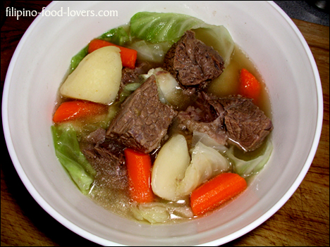 Nilagang Baka with Cabbage and Potatoes in a bowl