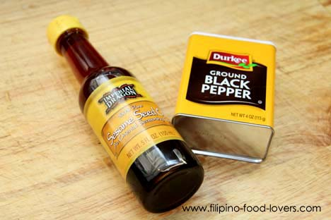 Sesame oil and ground black pepper