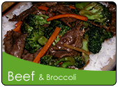Beef and Broccoli over rice on a place