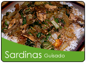 Ginisang sardinas over rice