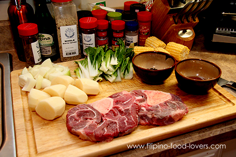 Bulalo Ingredients: Bulalo, Potatoes, Patis, Petchay, Corn and Onions