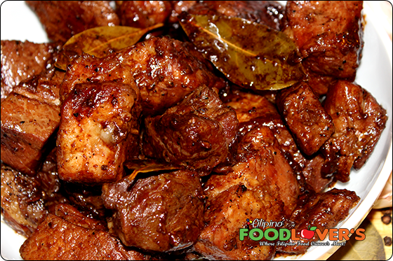 Pork Adobo Ready to Serve Over White Steam Rice
